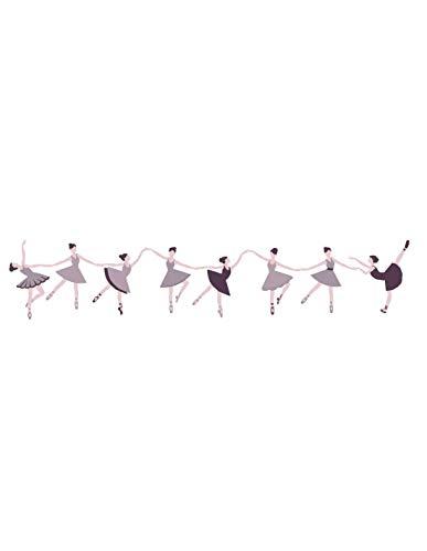 Sticker fille : Frise Danseuse en Couleurs - Format : 125 cm de long x 25 cm de haut