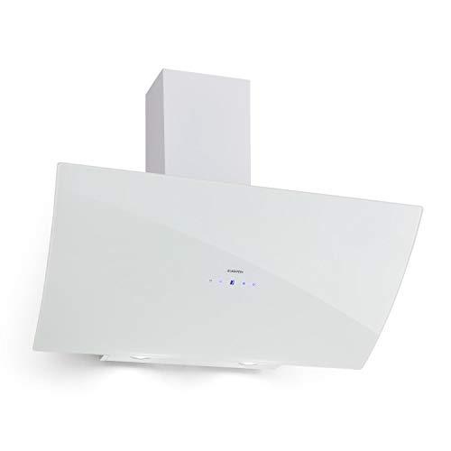 Klarstein Annabelle 90 Campana extractora - Extractor de humos de pared, Absorción y ventilación, Rendimiento de 650 m³/h, 230 W, Iluminación LED, Acero inoxidable, Panel táctil, Blanco
