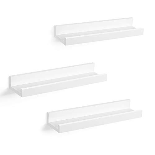 Songmics LWS38WT Juego de 3 estantes flotantes para marcos de fotos y libros, 38 x 10 cm, estantería moderna, color blanco