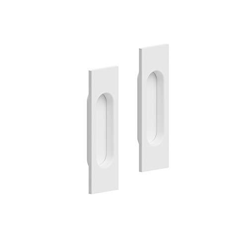 Griffmulden Set für Schiebetüren, eckig, Farbe weiß, für Durchgangstüren, Zimmertüren, Schranktüren