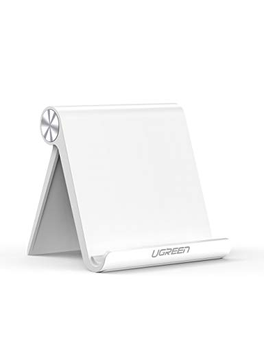 UGREEN Tablet Stand Holder Adjustable Compatible for iPad 10.2 2019 iPad Pro 11 Inch 2020 iPad 9.7 2018 iPad Mini 5 4 3 2 iPad Air Nintendo Switch iPhone 13 12 Pro Max 11 XS XR X 8 Plus 7 6 White