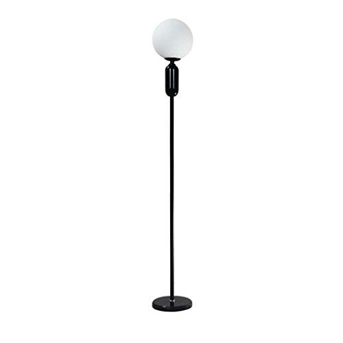 AILI Pieds de Lampes Lampe De Plancher De Salon, Étude Ronde D'abat-Jour De Verre De LED, Lampe De Plancher De Fer, Noir Luminaires intérieur Pieds de Lampes (Color : Black)
