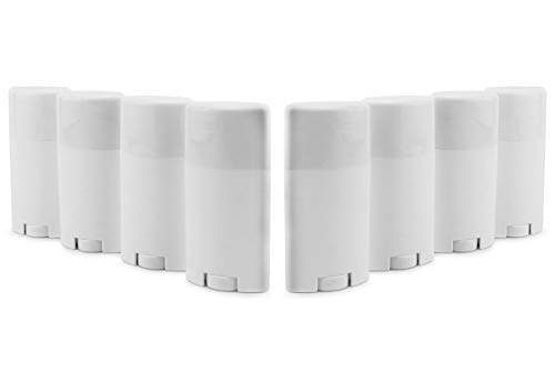 Cornucopia Empty Plastic Deodorant Containers (8-Pack); 2.5oz Style #2 Bottom Fill Twist-Up Style Tubes, Refillable for DIY, BPA-Free White Oval Shape