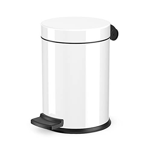 Hailo Solid S Mülleimer, 1 x 4 Liter, Kosmetikeimer mit Kunststoff Inneneimer, Tretmülleimer  Tragegriff, Stahlblech, Mülleimer Bad rund, Badezimmer Mülleimer, Made in Germany, weiß