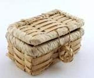 Casa De Muñecas Cesta de picnic cesta mimbre tejida con tapa en miniatura accesorios LT