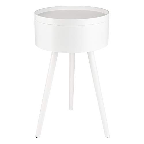ONVAYA® Tavolino in legno | Bianco | Ø 38 cm | Tavolino rotondo | Comodino in legno di pino | Spazio e coperchio rimovibile | Design moderno scandinavo