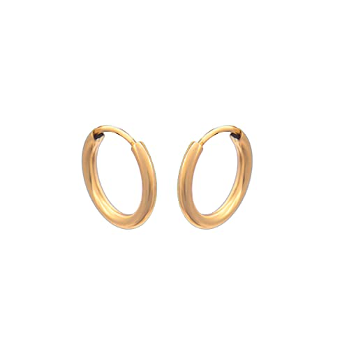 Damen Ohrringe 585 14k Gold Gelbgold Creolen Hoops 12x12mm