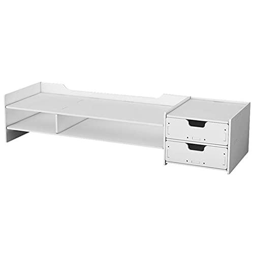 TJLSS Soporte para PC para monitor blanco de 2 niveles, soporte vertical para monitor de computadora, estante para el hogar, PVC para computadora portátil, TV, elevador de pantalla con estante organiz
