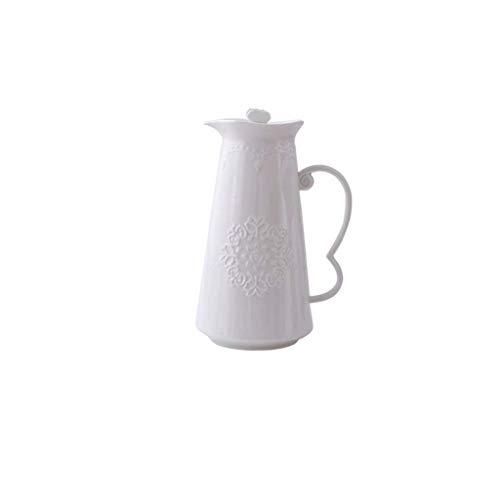 YAMMY Tetera de Porcelana de Gran Capacidad, fría y Caliente, Jarra, Resistente a Altas temperaturas, Creativo, con Flores, Tetera, Juego de té (Color: Blanco) (Olla Caliente)