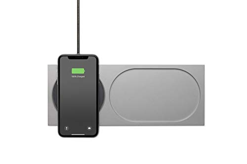 Native Union Block Wireless Charger - [Qi Certified] Valet Tray and Fast-Charging Pad Compatible with iPhone 12/12 Pro/12 Pro Max/11/11 Pro/11 Pro Max with 6.5ft Cable (Silver)