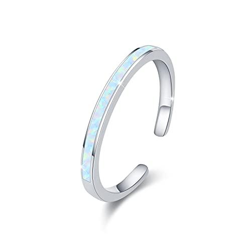 Stapelbare Ringe Opal 925 Sterling Silber Verstellbar Opal Ringe Offene Ringe für Damen Mädchen (Weiß-C)