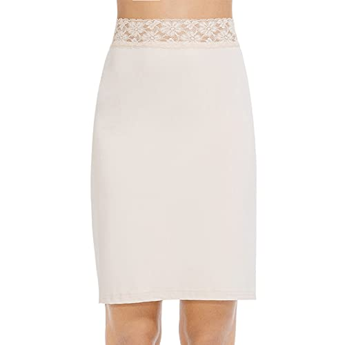 MANCYFIT Half Slips for Women Underskirt Short Mini Skirt with Floral Lace Waistband Nude Large