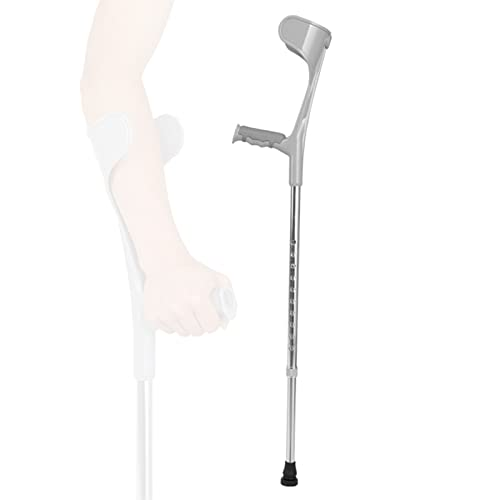 YXW Par de muletas de antebrazo Adultos Regulables con puño anatómico, muleta de Brazo ergonómica con Asas de Goma, bastón para Caminar para Hombre y Mujer, Negro/Plateado, Carga de 100 kg ✅