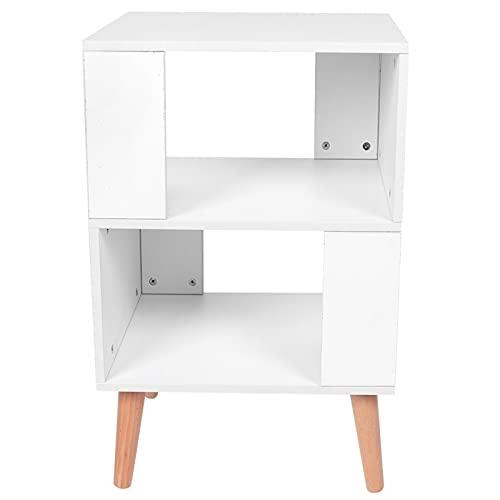 Omabeta Elegante mesa auxiliar Dormitorio Organizador de almacenamiento Mesita de noche para el dormitorio del hogar Sala de estar (blanco)