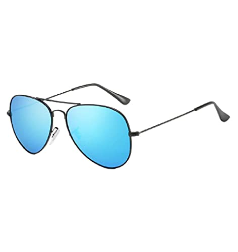 Gafas de sol polarizadas Gafas de sol de metal Retro Film Frog Mirror Driving Gafas de sol, Black Box Blue Water Silver,