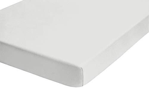 biberna 77144 Jersey-Stretch Spannbetttuch, nach Öko-Tex Standard 100, ca. 60 x 120 cm bis 70 x 140 cm, weiß