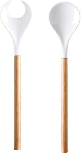 ASA Salatbesteck mit Holzgriff, natur CUISINE L. 32 cm, Porzellan 5214970 ! Vorteilsset beinhaltet 6 x den genannten Artikel und Set mit 4 EKM Living Edelstahl Strohhalme