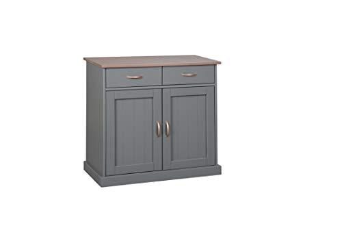 Inter Link FSC Landhausstil Kommode Anrichte 2 Türen 2 Schubladen Kiefer Massivholz grau sepia braun lackiert Esszimmer
