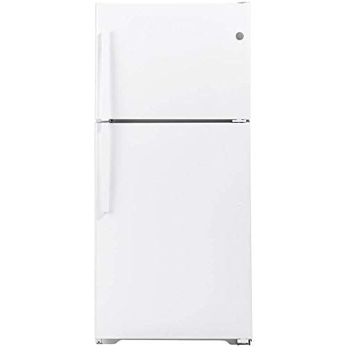 GE GTS22KGNRWW 33 Inch Freestanding Top Freezer Refrigerator with 21.93 cu. ft. Total Capacity, 2 Glass Shelves, Right Hinge with Reversible Doors, Crisper Drawer, Frost Free Defrost (White)