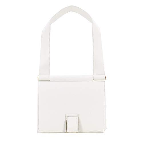 Rouven STUDIO.MUNET Leder Handtasche Schultertasche Tasche/Freda 24 Shoulder Tote Bag/medium / 24x26x11 cm/Weiß White Blanc