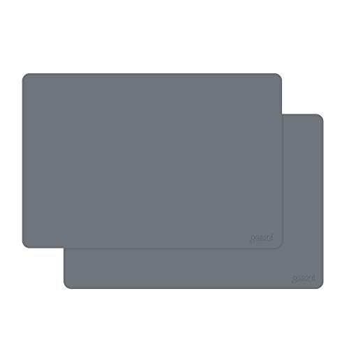 gasare, Extra Large, Thicker, Silicone Counter Mats, Kitchen Countertop Protector, Heat Resistant, Non Slip, Waterproof, Washable, 25 x 17 Inches x 1.4 mm, Set of 2, Grey