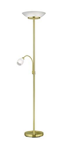 lightling Deckenfluter Stehleuchte Klaus mit LED Leselampe aus messing matt Metall, exkl. 2 x E27 (max. 18W), beweglicher Lesearm 1 x E14 (max. 10W, getrennt schaltbar), Höhe 180 cm, Durchmesser 34 cm
