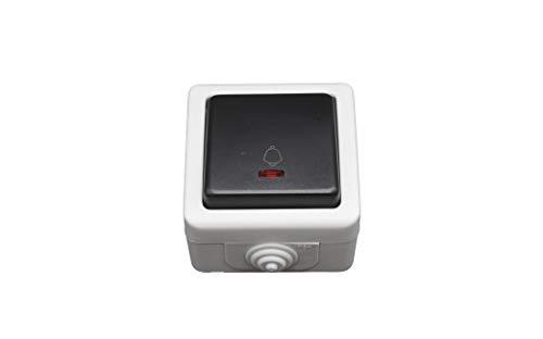 Pulsador Led luminoso estanco. Interruptor IP54 10A 250V.