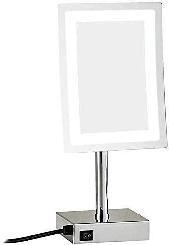 Espejo de tocador con espejo de luces para maquillaje de maquillaje de 8 pulgadas con espejos de maquillaje de encimera, vanidad de una sola cara de latón iluminado de latón, cosmética 3x, lupa con en