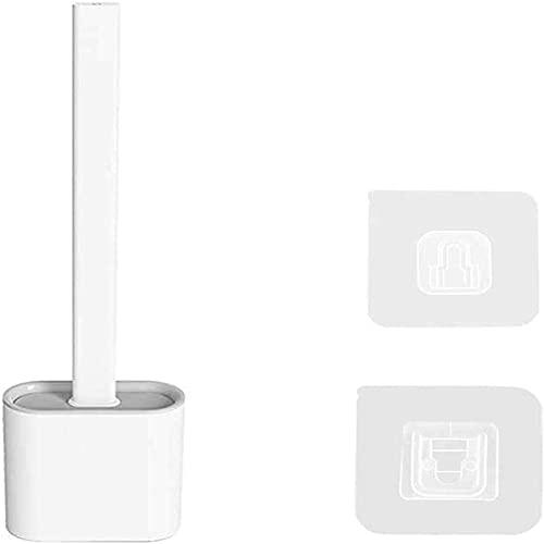MTUPOC Spazzola per WC in Silicone Creativo con Supporto, Set di spazzole per WC da Bagno Flessibile Piatto Montato a Parete, Spazzola per Pulizia Profonda e Asciugatura Rapida (Bianca)