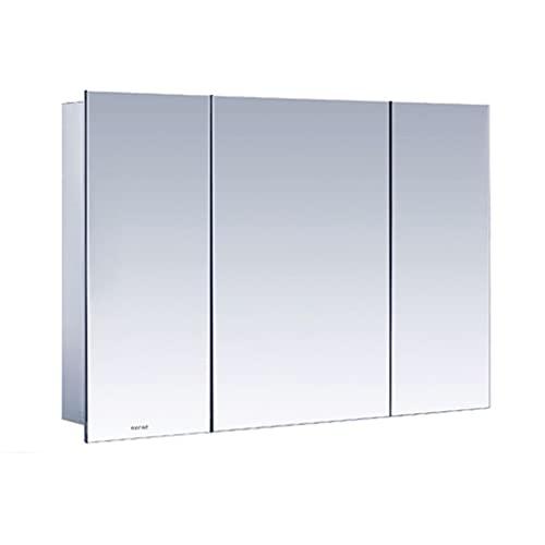 Rostfritt stål spegelskåp, badrum väggmonterad förvaringsskåp, kök vägg hängande skåp, tre-dörr medicinskåp (Color : Silver, Size : 90 * 13 * 60cm)