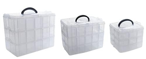 Shoplifemore Caja organizadora de suministros de arte, cajas de clasificación de joyas transparentes contenedores de almacenamiento para cuentas joyería pendiente herramienta gancho de pesca (L)