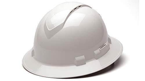 Pyramex Ridgeline Full Brim Hard Hat, Vented, 4-Point Ratchet Suspension, White