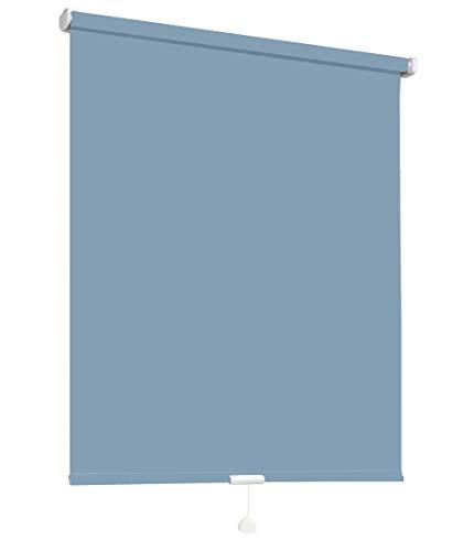 Springrollo Mittelzugrollo Schnapprollo Fenster Rollo Vorhang 16 Farben Breite 62-242 cm Höhe 160 und 230 cm blickdicht lichtdurchlässig Sonnenschutz Sichtschutz Blendschutz (132 x 160 cm Blau)