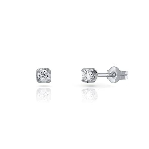 Pendientes de mujer oro blanco 18kts diseño garra con diamante (0.12 ct). Cierre presión. Medida 2.50 mm.(1-640302)