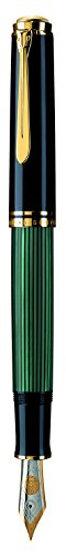 Pelikan 987495 Kolbenfüllhalter Souverän M 1000 mit Bicolor-Goldfeder 18-K/750 Federbreite M, 1 Stück, schwarz/grün