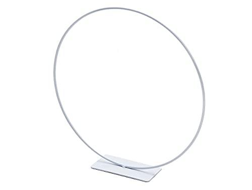 NaDeco Metallring Weiß mit Fuß, wählbar in den Größen 25, 30 und 40cm Dekoring auf Fuß Drahtring zum Basteln Metallring für Wickeltechnik Hoops Trockenblumen Ring Metalldrahtring, Größe:Ø25 cm