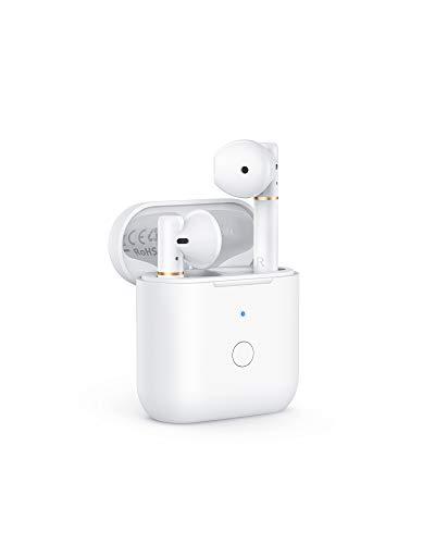 AUKEY Bluetooth Kopfhörer, Bluetooth 5 Semi in Ear Kabellose Ohrhörer, Stereosound, mit In-Ear-Erkennung, eingebauten Geräuschreduzierenden Mikrofonen, Wasserfest nach IPX6, USB-C Quick Charge