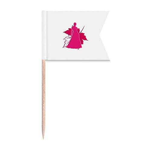 Las mujeres de la postura de la sombra de las hojas del palillo de dientes de las banderas de etiquetado para la fiesta de la torta de la comida