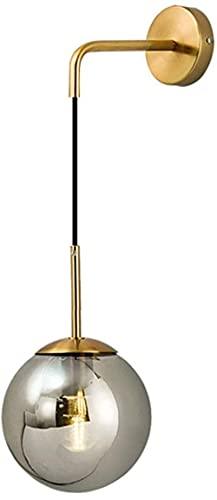 MWKL Lámpara de Pared de latón de Estilo Retro Industrial Vintage Loft Bar E27 Bola de Vidrio Colgante Lámpara de Pared Dormitorio Pasillo Aplique Iluminación Decoración (Transparente, L)
