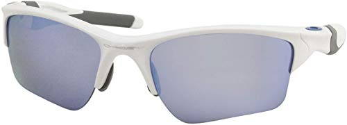 Oakley Men's OO9154 Half Jacket 2.0 XL Rectangular Sunglasses, Polished White/Prizm Deep Water Polarized, 62 mm