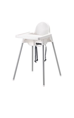 Ikea's ANTILOP Highchair with safety belt, white, silver color and ANTILOP Highchair tray, white
