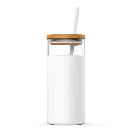Portavasos de vidrio de Tronco de 600 ml. Botella de agua de vidrio con pajita de silicona. Funda protectora. Tapa de bambú. Libre de bisfenol A, Blanco