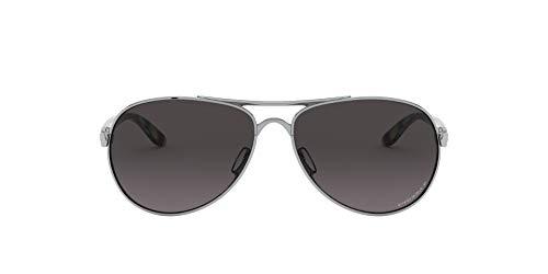 Oakley Women's OO4108 Tie Breaker Aviator Sunglasses, Polished Chrome/Prizm Grey Gradient Polarized, 56 mm