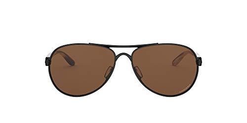 Oakley Women's OO4108 Tie Breaker Aviator Metal Sunglasses, Polished Black/Prizm Tungsten, 56 mm