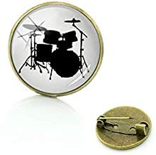 Instrumento musical elegante regalo insignia música tambor conjunto silueta broches hombres mujeres músico lujo joyería Pins