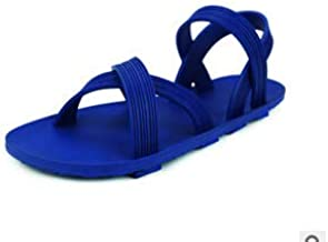 Haiyu flip flops for women Rubber Black Male Girl Sandals Student Campus Wind, 36, Royal Blue