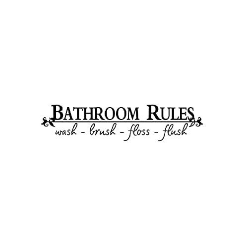 Cajgvavj Reglas De Baño Etiqueta De La Pared Para Decoraciones De Baño Puerta Decoración Del Hogar Calcomanías Artísticas Fondo Mural De Pvc Pegatinas Extraíbles