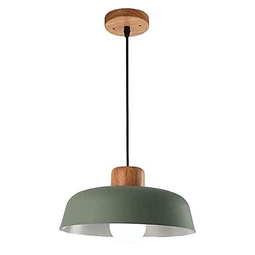 Lámpara de techo colgante de madera para comedor, vintage, industrial, E27, lámpara de techo verde, de metal, altura regulable, para salón, comedor, dormitorio, cocina, diámetro 30 cm