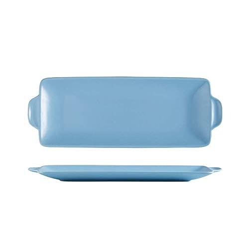 COLiJOL Platos Rectangulares para Hornear Plato de Cerámica para Bistec Vajilla Plato de Comida Occidental Mate Mate Plato para Hornear Casero (Color: Blanco, Tamaño: 30.2 * 2.5 * 11.2Cm),Azul,Talla