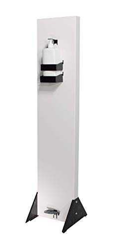 SANITAME Touchless Commercial Grade Hand Sanitizer Dispenser Station - Foot Pedal Operated - White & Black
